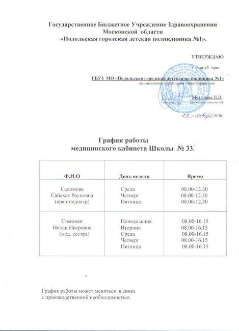 Подробнее: График работы медицинского кабинета Школы №33