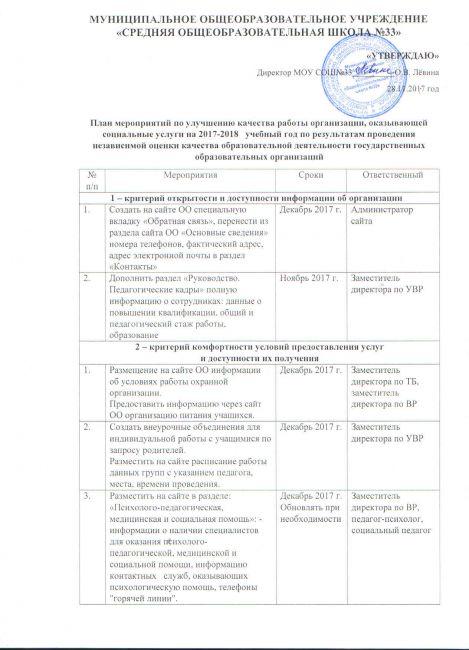 Подробнее: План мероприятий по улучшению качества работы организации