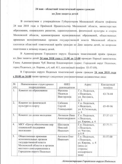 Подробнее: Уважаемые граждане, Городского округа Подольск! 24 мая состоится тематический приём граждан ко Дню...