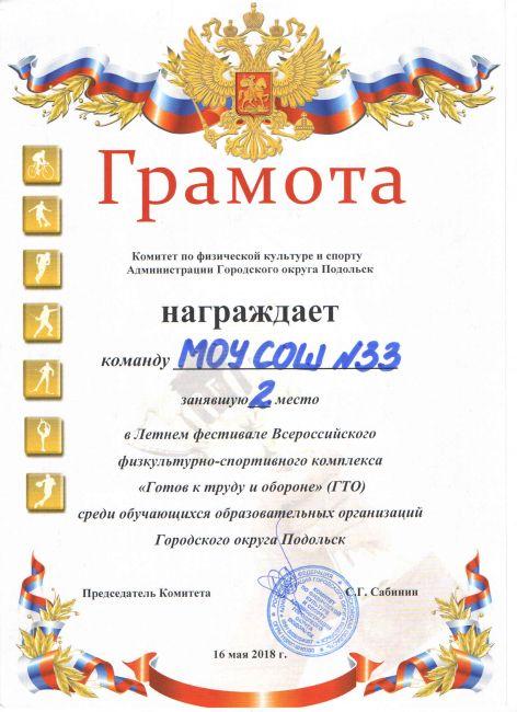 Подробнее: Весенний фестиваль ГТО 19.04.2018